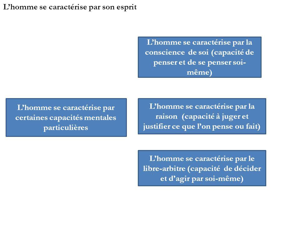 Lhomme se caractérise par son esprit Lhomme se caractérise par certaines capacités mentales particulières Lhomme se caractérise par la conscience de s