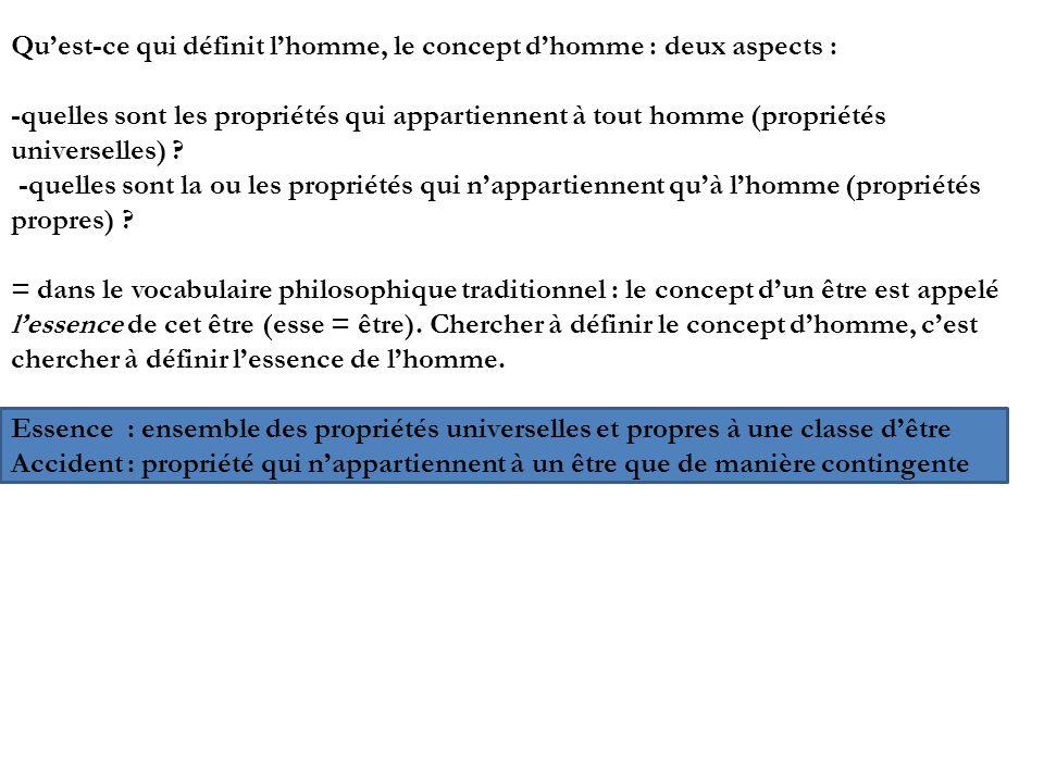 Quest-ce qui définit lhomme, le concept dhomme : deux aspects : -quelles sont les propriétés qui appartiennent à tout homme (propriétés universelles)