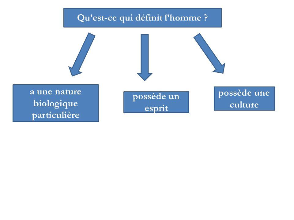 possède un esprit possède une culture a une nature biologique particulière Quest-ce qui définit lhomme ?