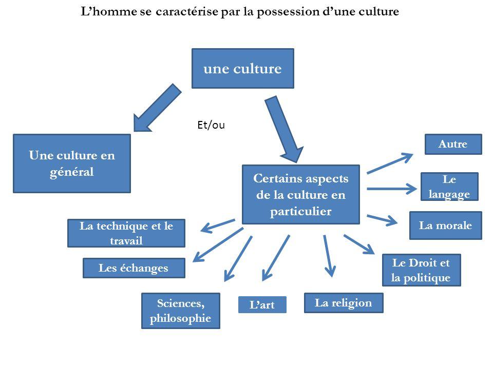 une culture Et/ou Une culture en général Certains aspects de la culture en particulier La technique et le travail La religion Sciences, philosophie Le