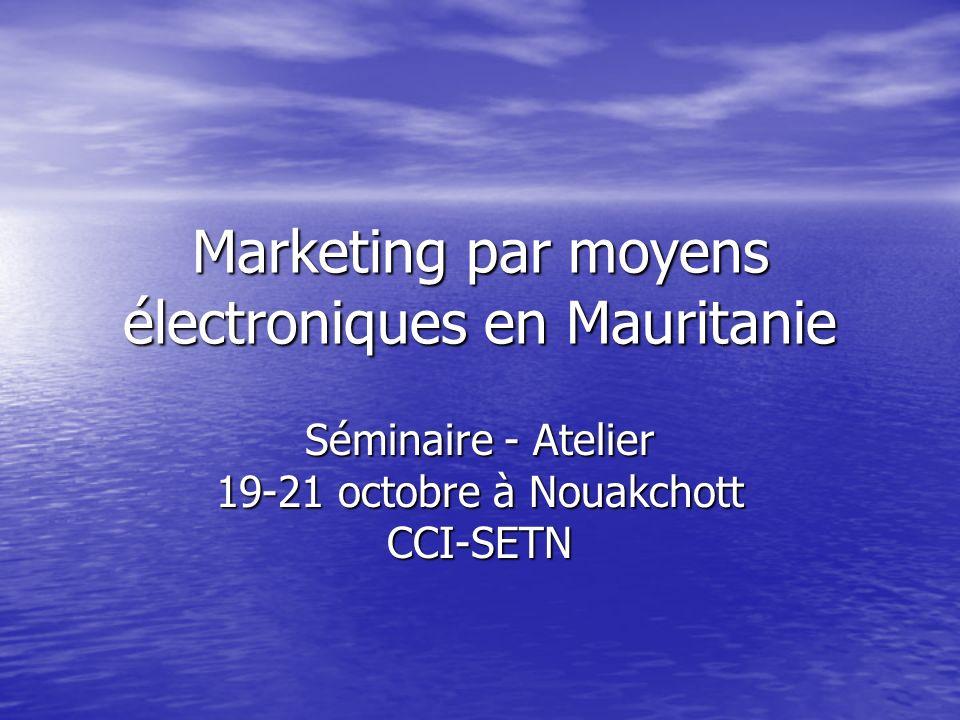 Marketing par moyens électroniques en Mauritanie Séminaire - Atelier 19-21 octobre à Nouakchott CCI-SETN