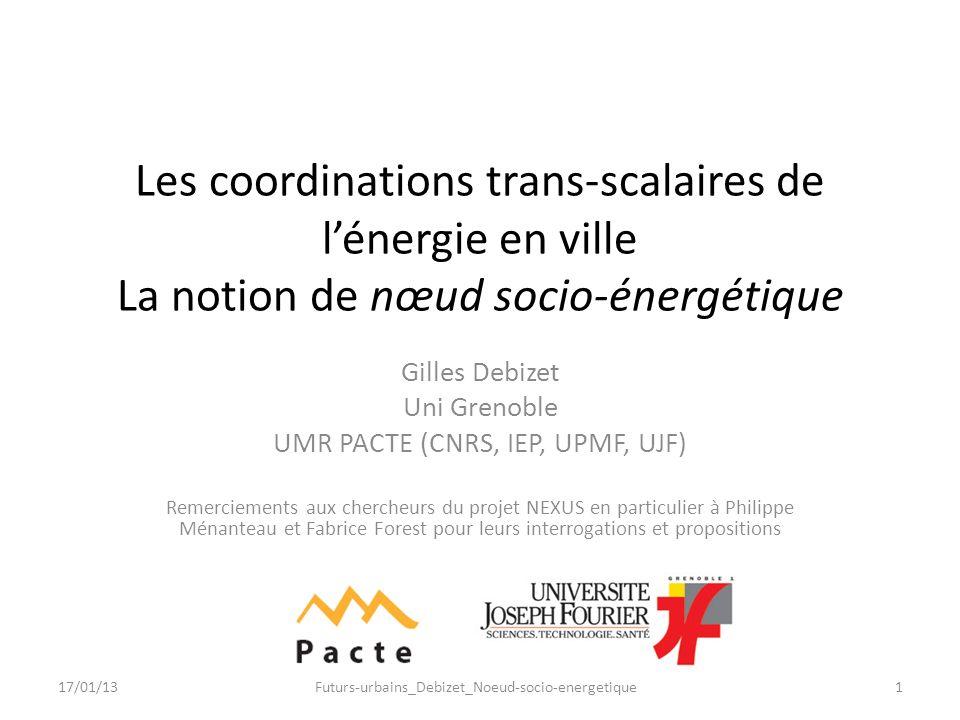 Les coordinations trans-scalaires de lénergie en ville La notion de nœud socio-énergétique Gilles Debizet Uni Grenoble UMR PACTE (CNRS, IEP, UPMF, UJF