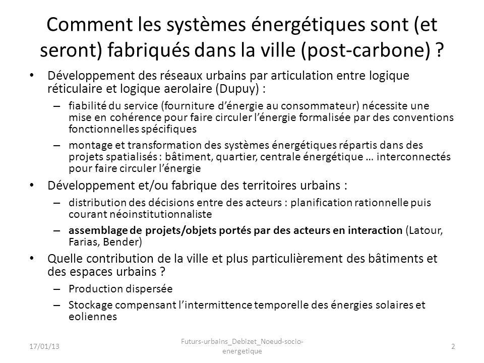 Comment les systèmes énergétiques sont (et seront) fabriqués dans la ville (post-carbone) ? Développement des réseaux urbains par articulation entre l