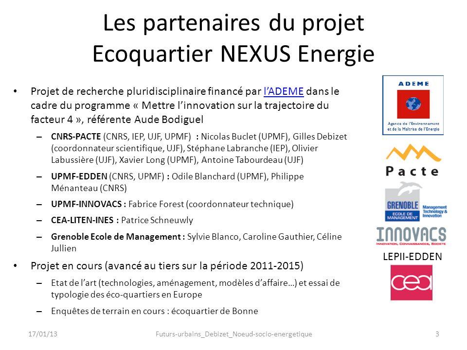 LEPII-EDDEN Les partenaires du projet Ecoquartier NEXUS Energie Projet de recherche pluridisciplinaire financé par lADEME dans le cadre du programme «