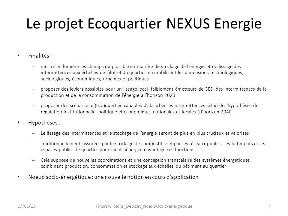 Le projet Ecoquartier NEXUS Energie Finalités : – mettre en lumière les champs du possible en matière de stockage de lénergie et de lissage des interm