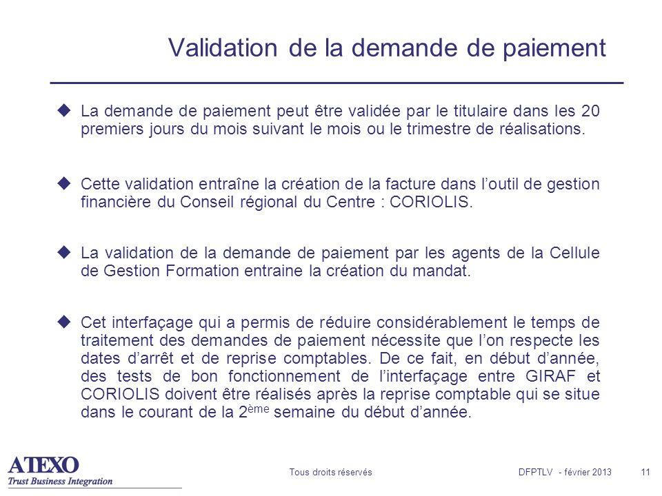 Tous droits réservés11 Validation de la demande de paiement La demande de paiement peut être validée par le titulaire dans les 20 premiers jours du mo