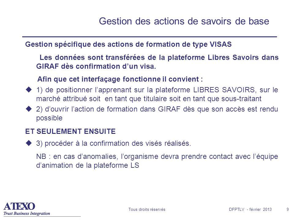 Tous droits réservés9 Gestion des actions de savoirs de base Gestion spécifique des actions de formation de type VISAS Les données sont transférées de