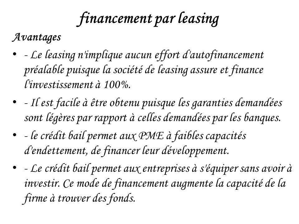 financement par leasing Avantages - Le leasing n implique aucun effort d autofinancement préalable puisque la société de leasing assure et finance l investissement à 100%.