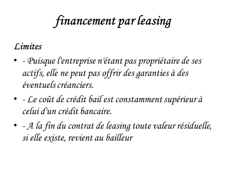 financement par leasing Limites - Puisque l entreprise n étant pas propriétaire de ses actifs, elle ne peut pas offrir des garanties à des éventuels créanciers.