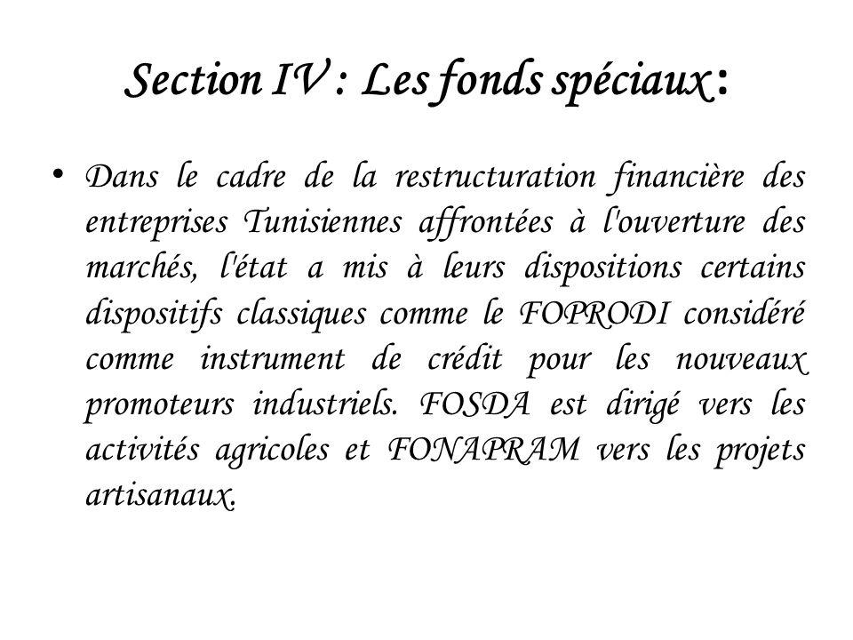 Section IV : Les fonds spéciaux : Dans le cadre de la restructuration financière des entreprises Tunisiennes affrontées à l ouverture des marchés, l état a mis à leurs dispositions certains dispositifs classiques comme le FOPRODI considéré comme instrument de crédit pour les nouveaux promoteurs industriels.
