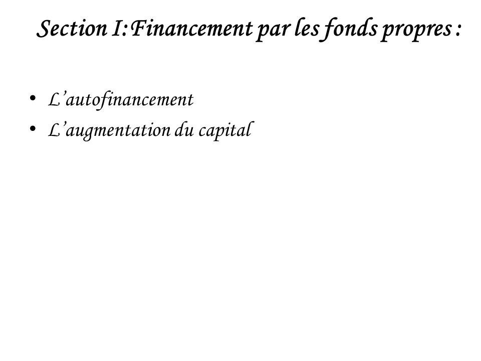 I-Lautofinancement L autofinancement représente la richesse créée par l entreprise.