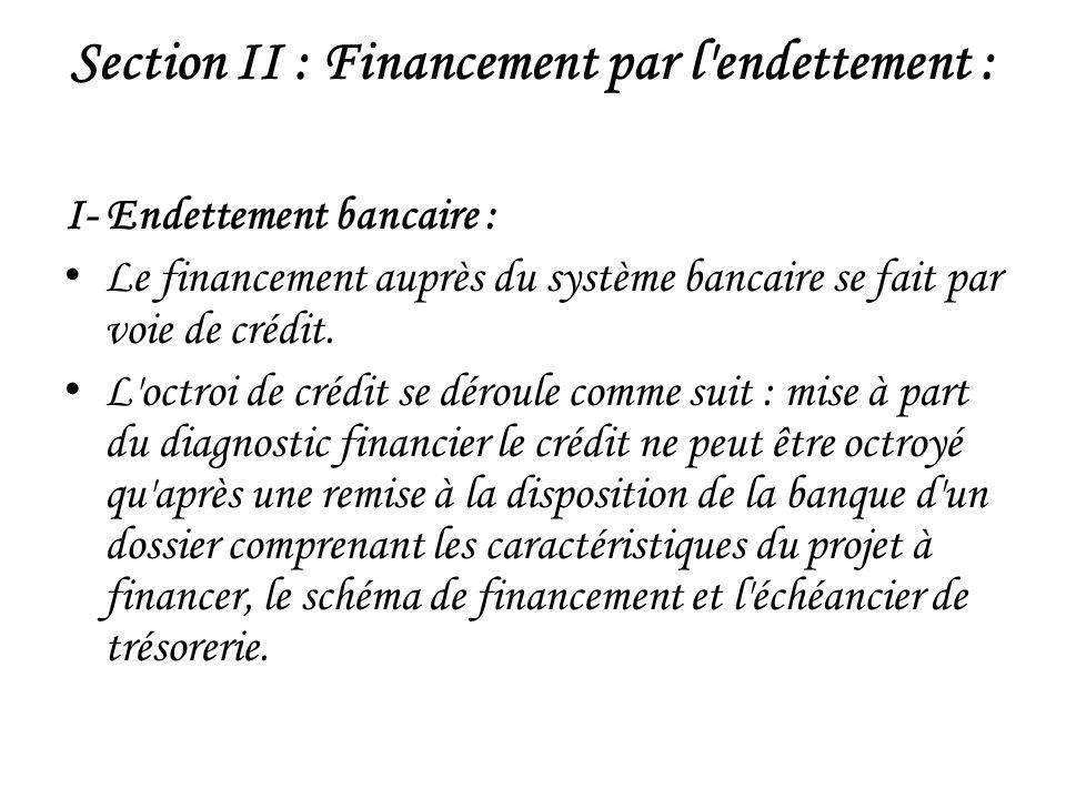 Section II : Financement par l endettement : I- Endettement bancaire : Le financement auprès du système bancaire se fait par voie de crédit.