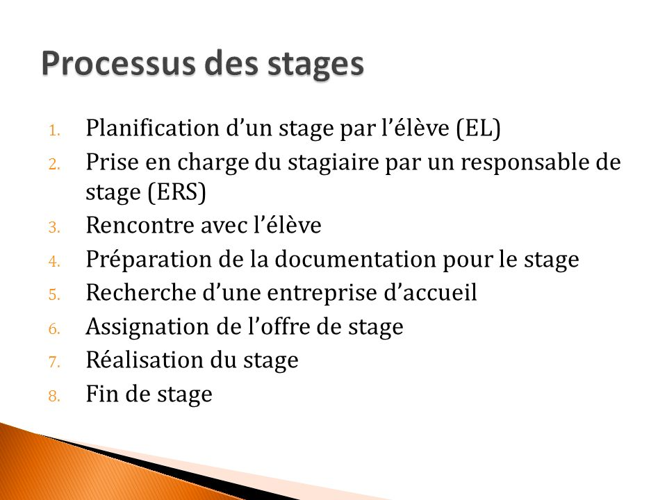 1. Planification dun stage par lélève (EL) 2.