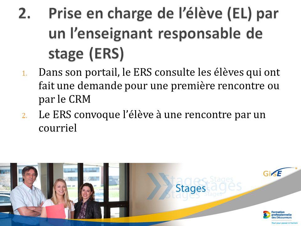 1. Dans son portail, le ERS consulte les élèves qui ont fait une demande pour une première rencontre ou par le CRM 2. Le ERS convoque lélève à une ren