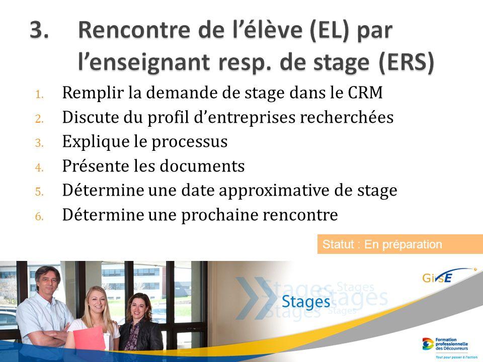1. Remplir la demande de stage dans le CRM 2. Discute du profil dentreprises recherchées 3.