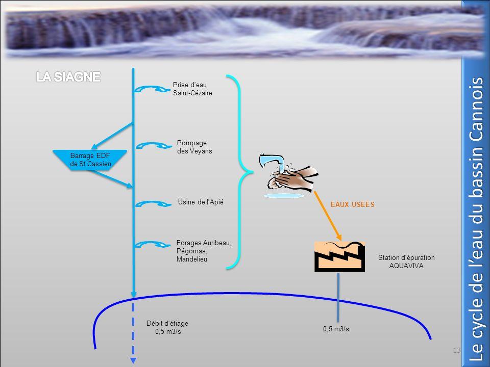 Prise d'eau Saint-Cézaire Pompage des Veyans Usine de l'Apié Forages Auribeau, Pégomas, Mandelieu Station d'épuration AQUAVIVA Débit d'étiage 0,5 m3/s