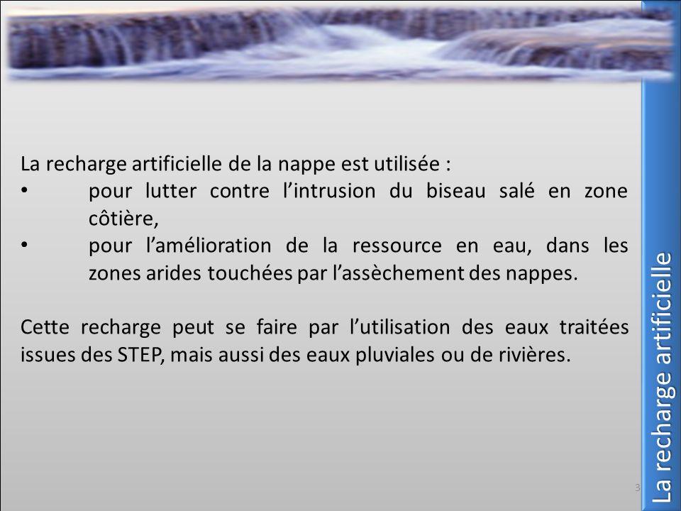 La recharge artificielle de la nappe est utilisée : pour lutter contre lintrusion du biseau salé en zone côtière, pour lamélioration de la ressource e