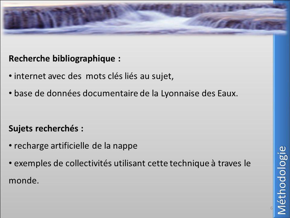 MéthodologieMéthodologie Recherche bibliographique : internet avec des mots clés liés au sujet, base de données documentaire de la Lyonnaise des Eaux.