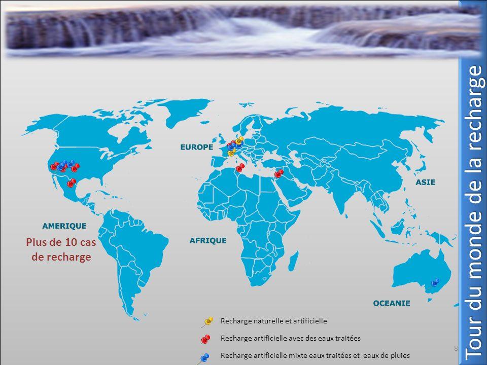 Plus de 10 cas de recharge 8 Tour du monde de la recharge Recharge naturelle et artificielle Recharge artificielle avec des eaux traitées Recharge art