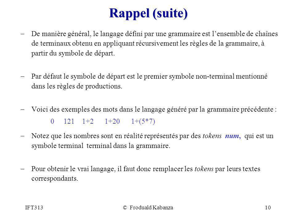 IFT313© Froduald Kabanza10 Rappel (suite) De manière général, le langage défini par une grammaire est lensemble de chaînes de terminaux obtenu en appl