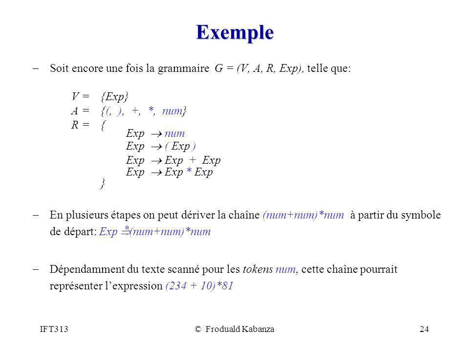 IFT313© Froduald Kabanza24 Exemple Soit encore une fois la grammaire G = (V, A, R, Exp), telle que: V = {Exp} A = {(, ), +, *, num} R = { Exp num Exp ( Exp ) Exp Exp + Exp Exp Exp * Exp } En plusieurs étapes on peut dériver la chaîne (num+num)*num à partir du symbole de départ: Exp (num+num)*num Dépendamment du texte scanné pour les tokens num, cette chaîne pourrait représenter lexpression (234 + 10)*81 *