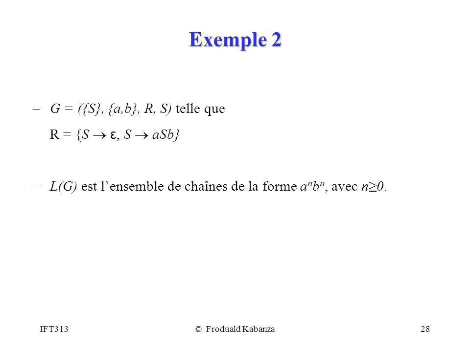 IFT313© Froduald Kabanza28 Exemple 2 G = ({S}, {a,b}, R, S) telle que R = {S ε, S aSb} L(G) est lensemble de chaînes de la forme a n b n, avec n0.