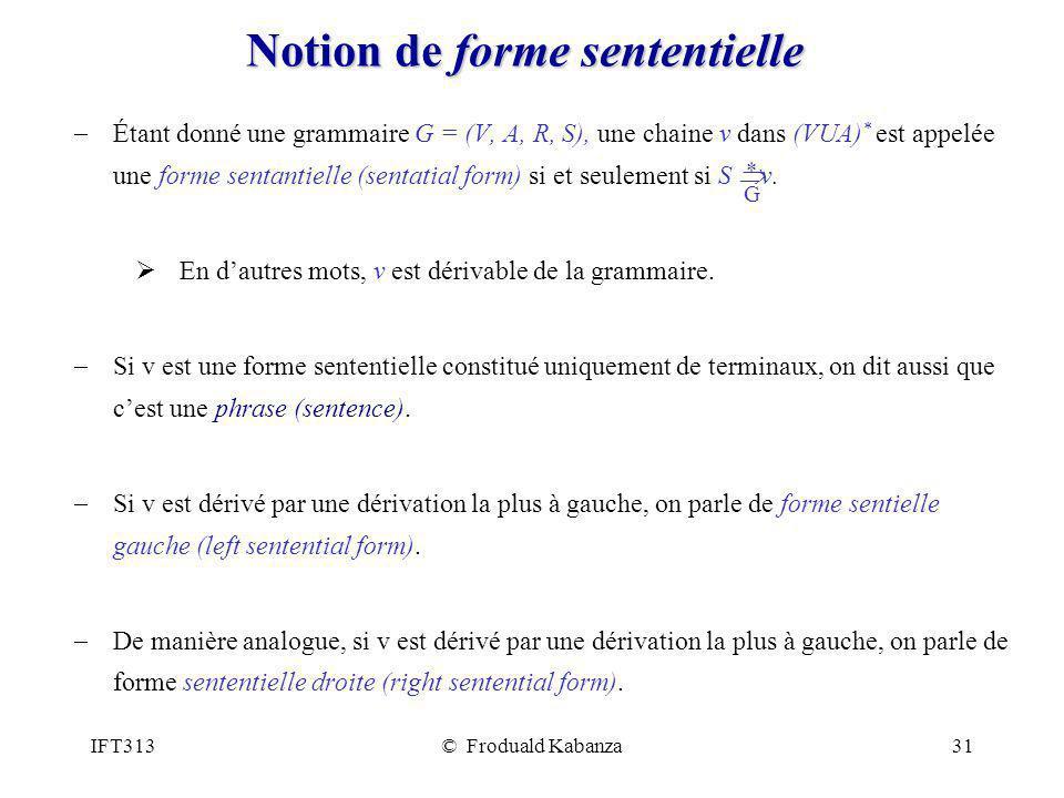IFT313© Froduald Kabanza31 Notion de forme sententielle Étant donné une grammaire G = (V, A, R, S), une chaine v dans (VUA) * est appelée une forme se