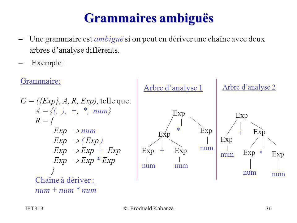 IFT313© Froduald Kabanza36 Grammaires ambiguës Une grammaire est ambiguë si on peut en dériver une chaîne avec deux arbres danalyse différents. Exempl