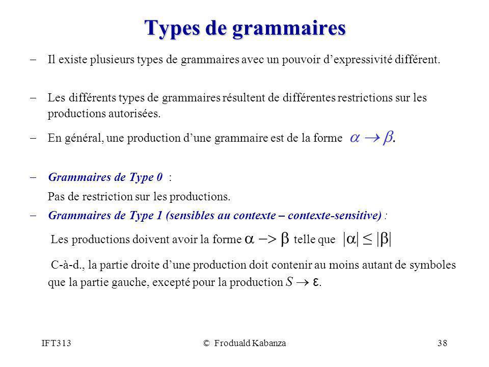 IFT313© Froduald Kabanza38 Types de grammaires Il existe plusieurs types de grammaires avec un pouvoir dexpressivité différent. Les différents types d