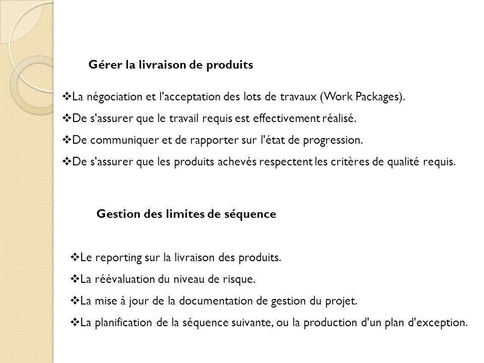 Gérer la livraison de produits La négociation et l'acceptation des lots de travaux (Work Packages). De s'assurer que le travail requis est effectiveme