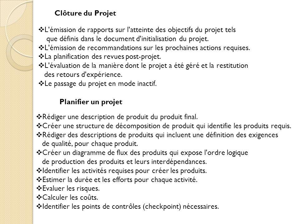 Clôture du Projet L émission de rapports sur l atteinte des objectifs du projet tels que définis dans le document d initialisation du projet.