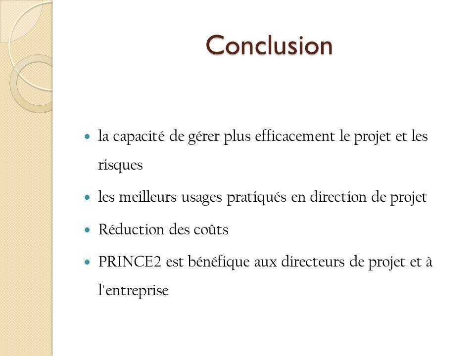 Conclusion la capacité de gérer plus efficacement le projet et les risques les meilleurs usages pratiqués en direction de projet Réduction des coûts PRINCE2 est bénéfique aux directeurs de projet et à l entreprise