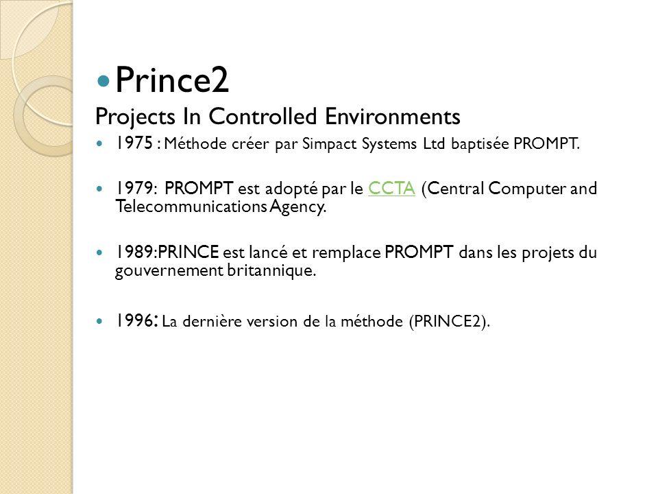 Prince2 Projects In Controlled Environments 1975 : Méthode créer par Simpact Systems Ltd baptisée PROMPT. 1979: PROMPT est adopté par le CCTA (Central