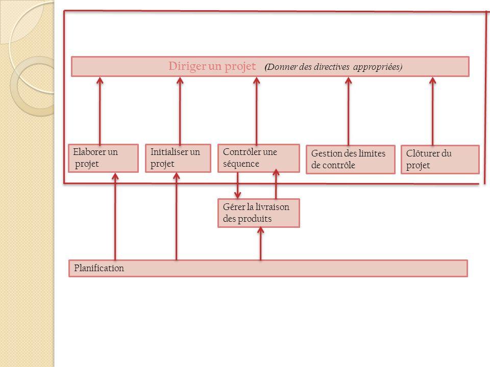 Diriger un projet (Donner des directives appropriées) Clôturer du projet Gestion des limites de contrôle Contrôler une séquence Initialiser un projet Elaborer un projet Planification Gérer la livraison des produits