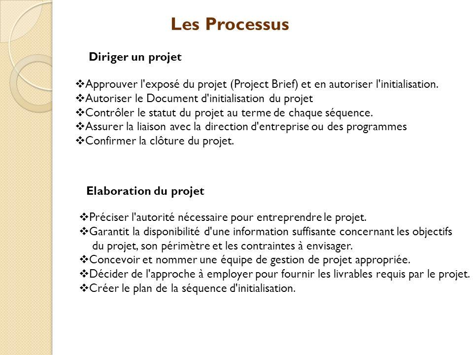Diriger un projet Approuver l'exposé du projet (Project Brief) et en autoriser l'initialisation. Autoriser le Document d'initialisation du projet Cont