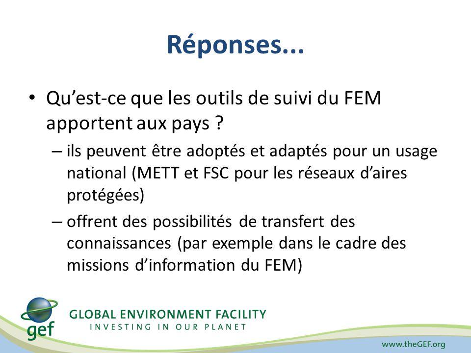 Réponses... Quest-ce que les outils de suivi du FEM apportent aux pays .