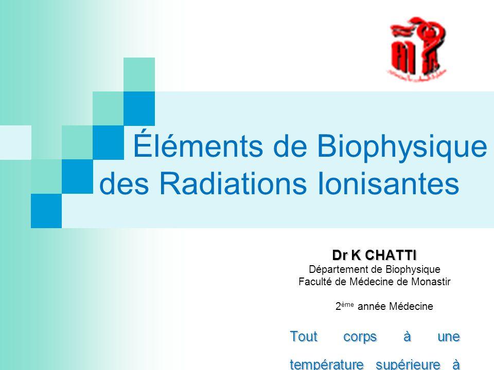 Éléments de Biophysique des Radiations Ionisantes Dr K CHATTI Département de Biophysique Faculté de Médecine de Monastir 2 ème année Médecine Tout cor