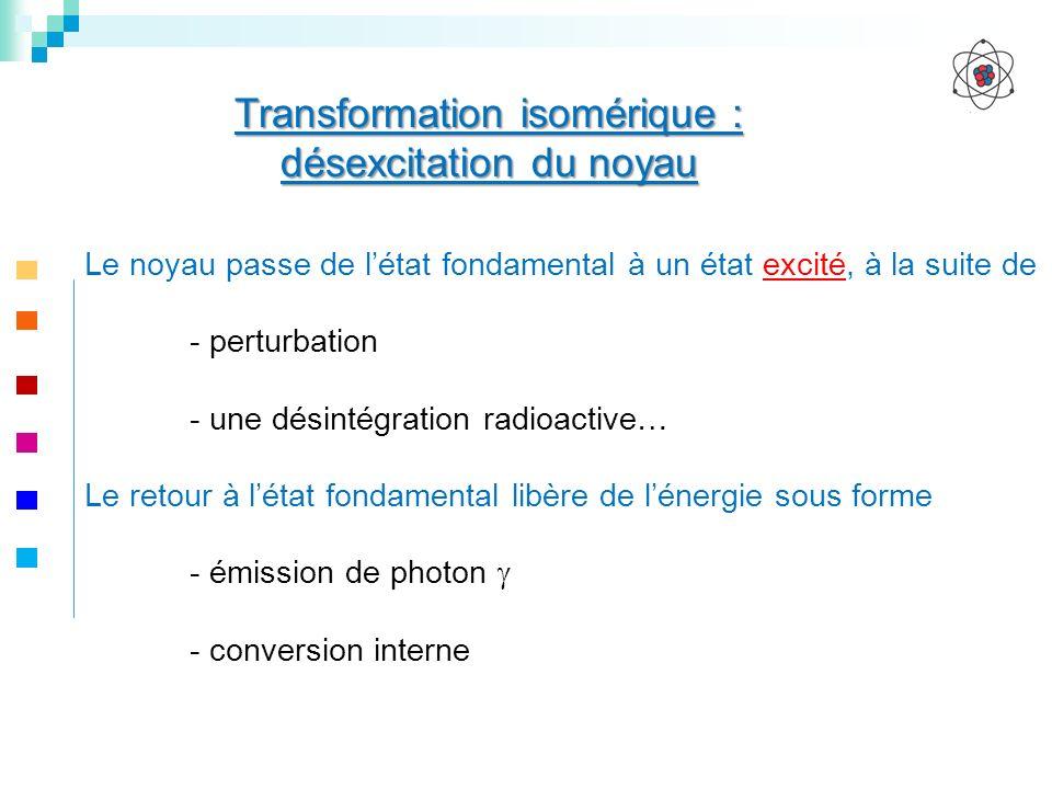 Transformation isomérique : désexcitation du noyau Le noyau passe de létat fondamental à un état excité, à la suite de - perturbation - une désintégra