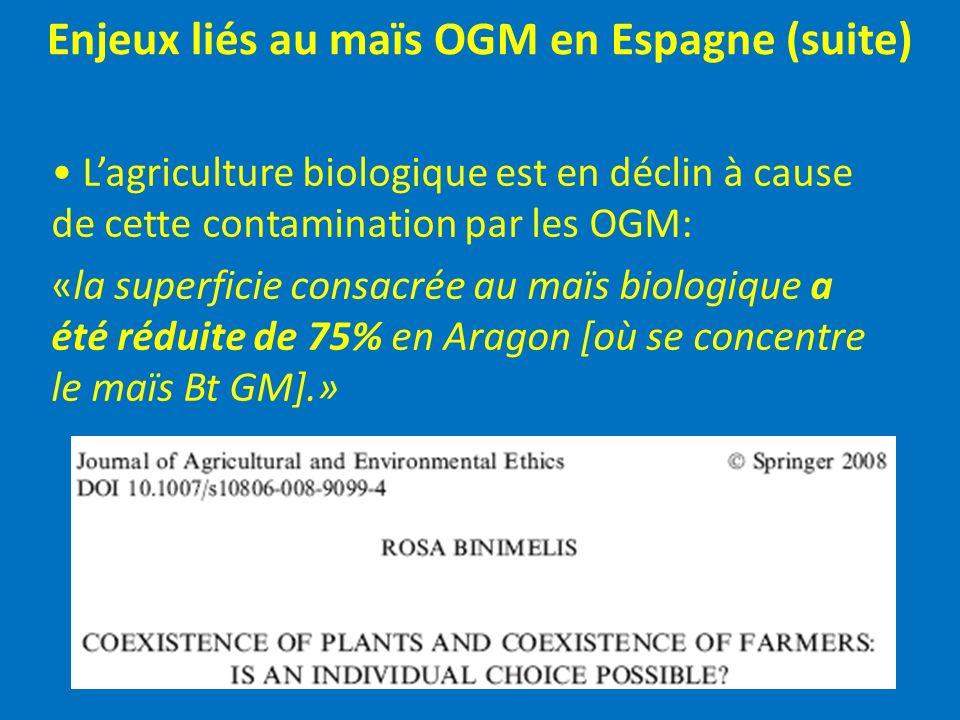 Enjeux liés au maïs OGM en Espagne (suite) Lagriculture biologique est en déclin à cause de cette contamination par les OGM: «la superficie consacrée