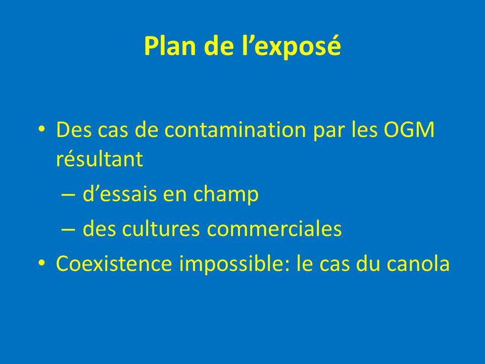 Plan de lexposé Des cas de contamination par les OGM résultant – dessais en champ – des cultures commerciales Coexistence impossible: le cas du canola