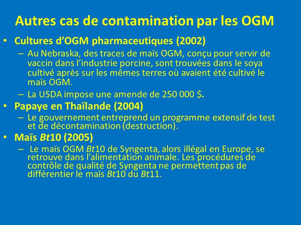 Autres cas de contamination par les OGM Cultures dOGM pharmaceutiques (2002) – Au Nebraska, des traces de maïs OGM, conçu pour servir de vaccin dans l