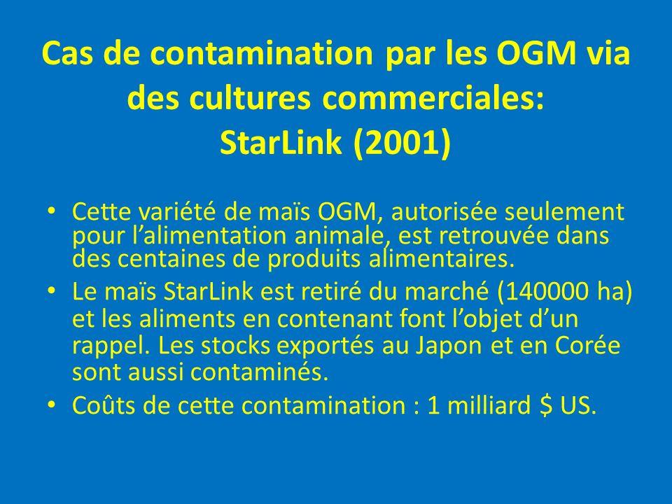 Cas de contamination par les OGM via des cultures commerciales: StarLink (2001) Cette variété de maïs OGM, autorisée seulement pour lalimentation anim
