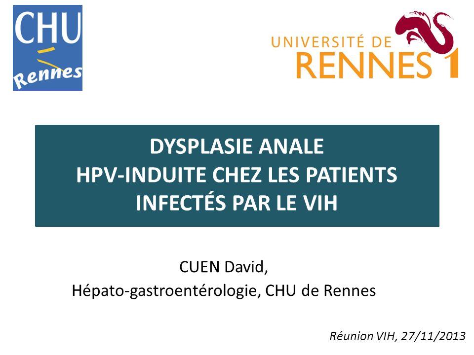 DYSPLASIE ANALE HPV-INDUITE CHEZ LES PATIENTS INFECTÉS PAR LE VIH CUEN David, Hépato-gastroentérologie, CHU de Rennes Réunion VIH, 27/11/2013