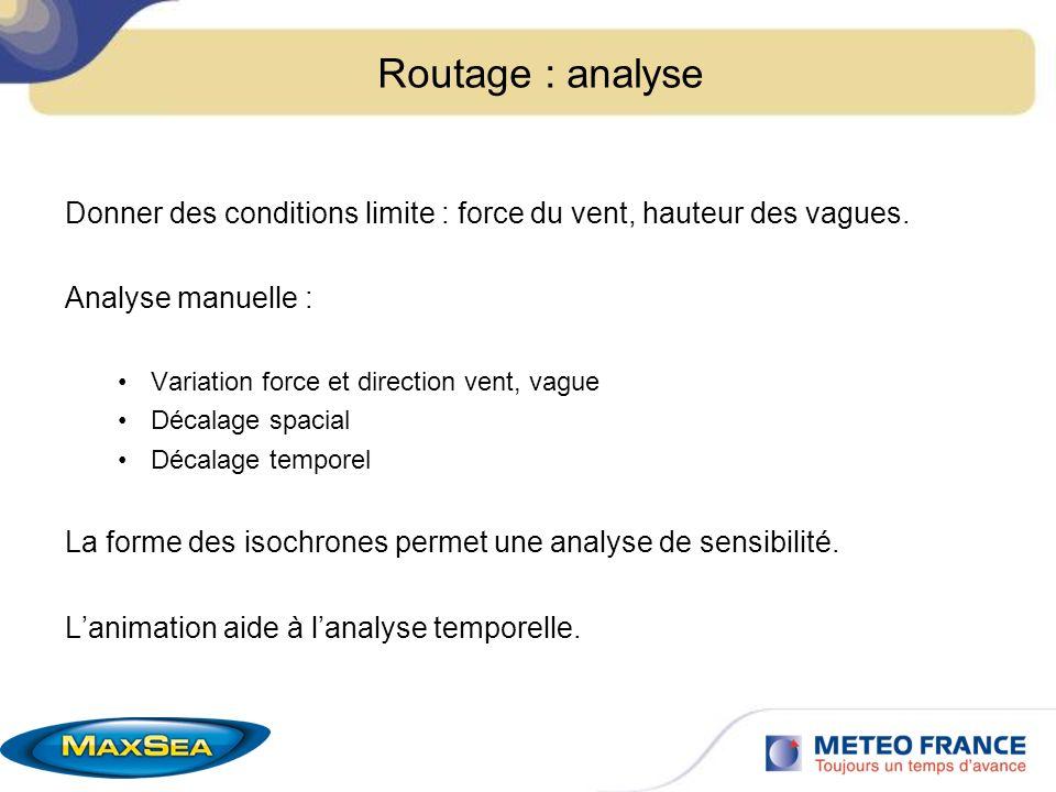 Routage : analyse Donner des conditions limite : force du vent, hauteur des vagues. Analyse manuelle : Variation force et direction vent, vague Décala