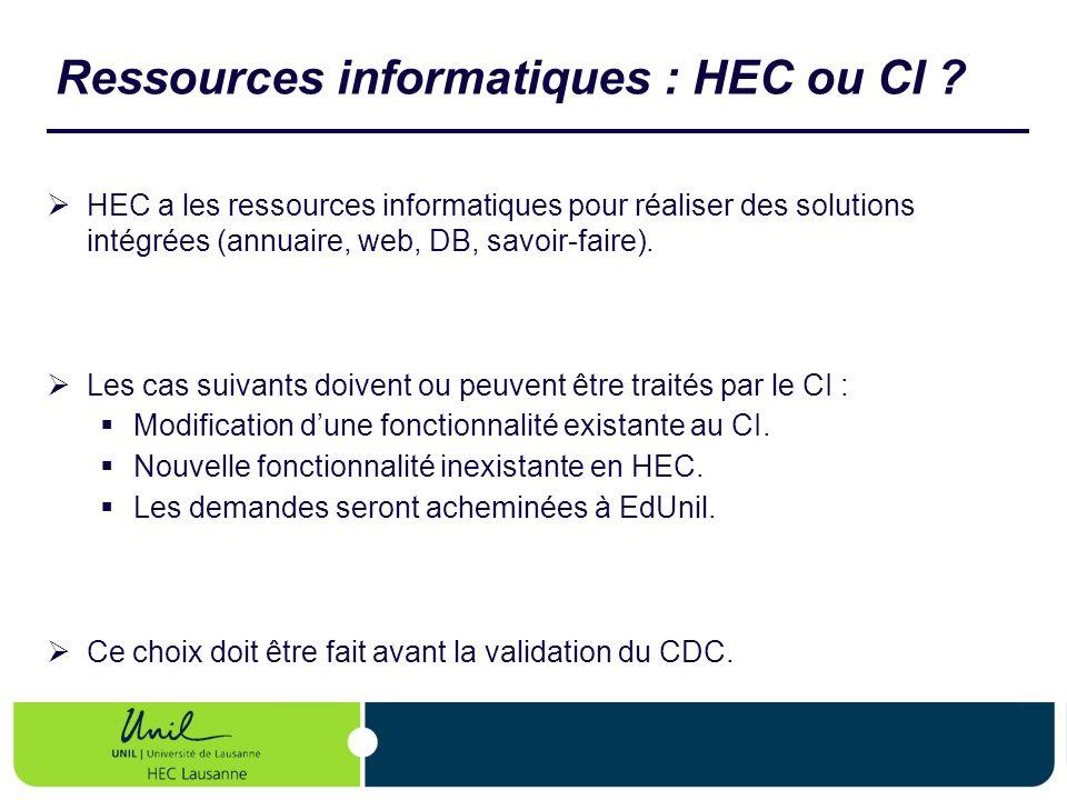 Ressources informatiques : HEC ou CI ? HEC a les ressources informatiques pour réaliser des solutions intégrées (annuaire, web, DB, savoir-faire). Les