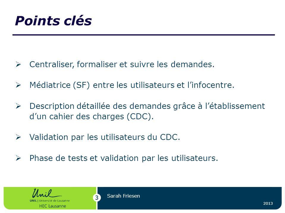Points clés 3 2013 3 Sarah Friesen Centraliser, formaliser et suivre les demandes. Médiatrice (SF) entre les utilisateurs et linfocentre. Description