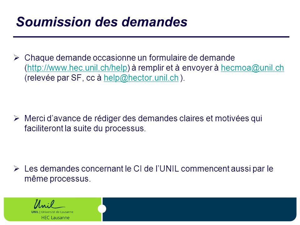 Soumission des demandes Chaque demande occasionne un formulaire de demande (http://www.hec.unil.ch/help) à remplir et à envoyer à hecmoa@unil.ch (rele