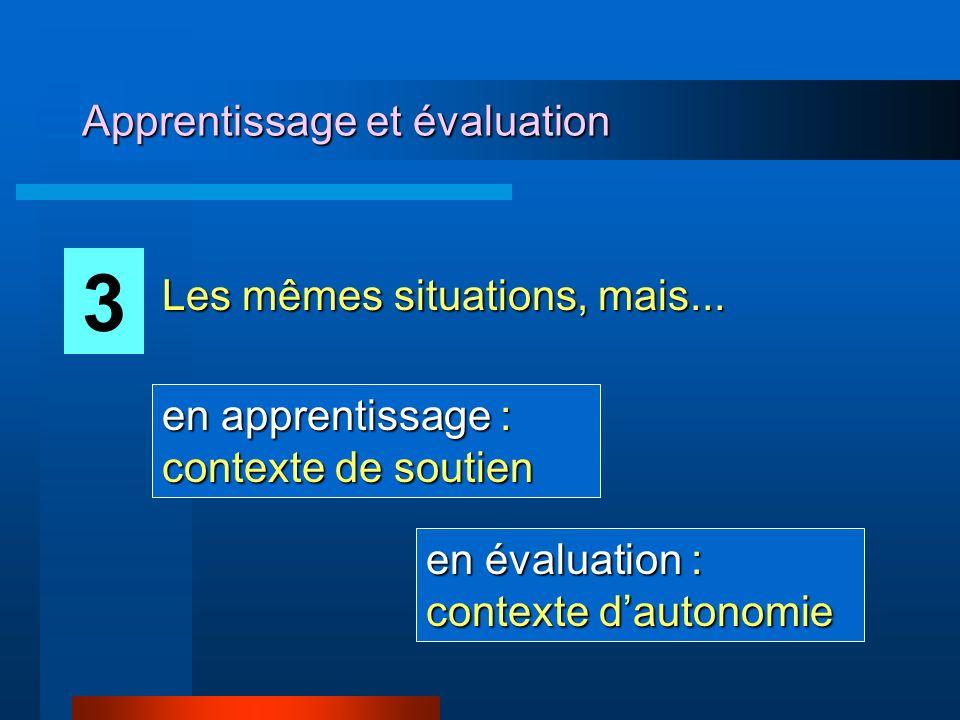 Apprentissage et évaluation 3 Les mêmes situations, mais... en apprentissage : contexte de soutien en évaluation : contexte dautonomie