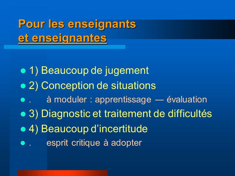 Pour les enseignants et enseignantes 1) Beaucoup de jugement 2) Conception de situations. à moduler : apprentissage évaluation 3) Diagnostic et traite