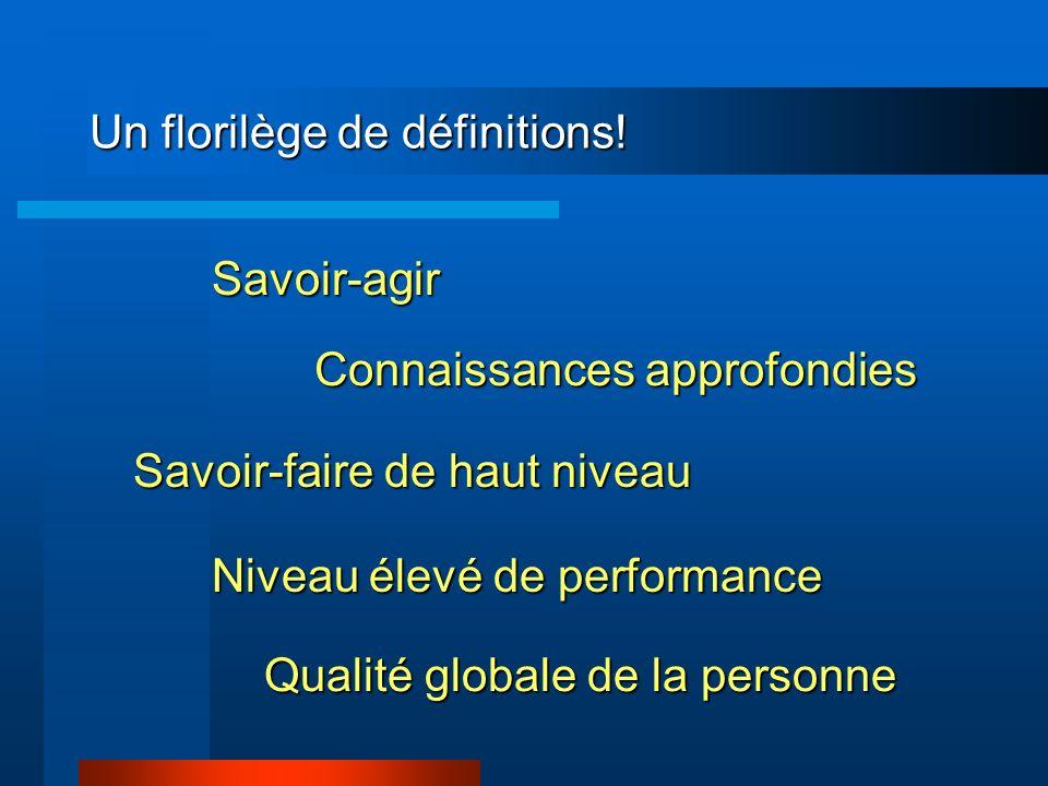 Un florilège de définitions! Savoir-agir Connaissances approfondies Savoir-faire de haut niveau Niveau élevé de performance Qualité globale de la pers